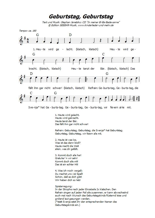 Lieder zum geburtstag mit text